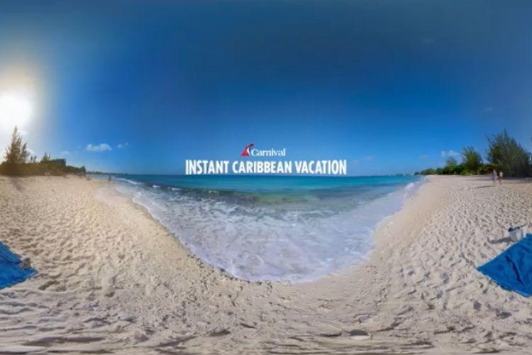 Wisata virtual dengan Carnival Cruise Line yang diunggah di YouTube dengan video 360 derajat.