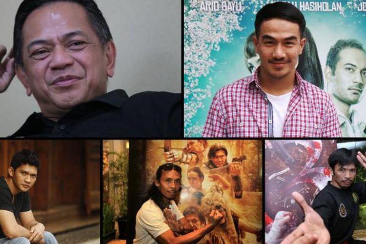 Lima Artis Indonesia di Hollywood: (atas - kiri ke kanan): Ray Sahetapy, Joe Taslim, (bawah - kiri ke kanan) Iko Uwais, Yayan Ruhian, dan Cecep Arif Rahman.