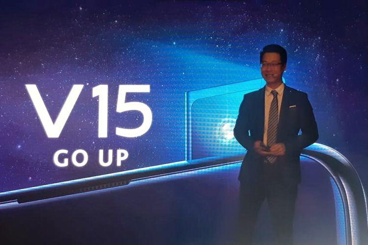Ilustrasi CEO Vivo Mobile Indonesia, Allan Feng, saat memperkenalkan Vivo V15 di acara peluncuran di Purwakarta, Selasa (5/3/2019).
