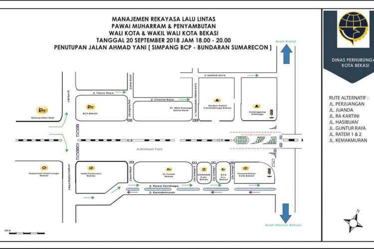 Gambaran rekayasa lalu lintas saat pawai Muharram dan Penyambutan Walikota serta Wakil Walikota Bekasi dari Simpang BCP sampai Bundara Sumarecon, Kota Bekasi, Rabu (19/9/2018).