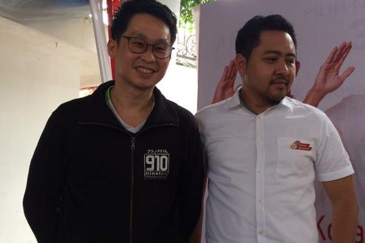 Presiden Direktur PT Sukses Sembilan Sepuluh, Hartono Wijaya (kiri) dan Dewan Pembinan One Kecamatan One Center for Entrepreneurship (OK OCE), Tsamanov di Posko Anies-Sandi, Jalan Cicurug, Menteng, Jakarta Pusat, Selasa (14/2/2017).