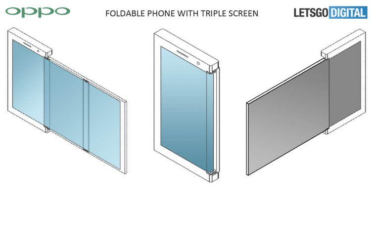 Skema smartphone layar lipat tiga display milik Oppo