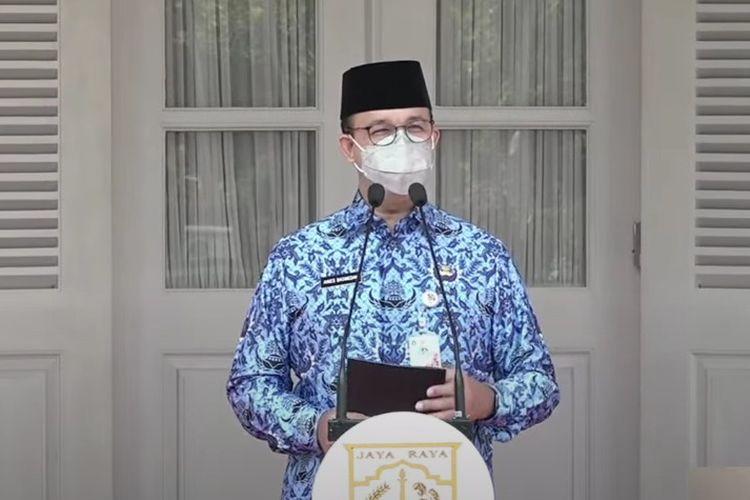 Gubernur DKI Jakarta Anies Baswedan saat upacara peringatan Rapat Besar Ikada ke-76, Senin (20/9/2021)