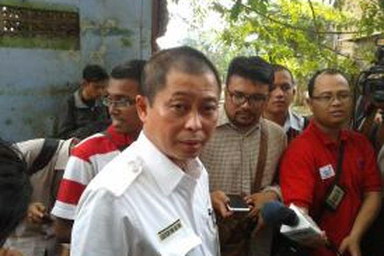 Direktur Utama PT KAI Ignasius Jonan saat memberikan konferensi pers terkait mudik lebaran 2013 di Stasiun Tanah Abang, Jakarta Pusat, Senin (12/8/2013)