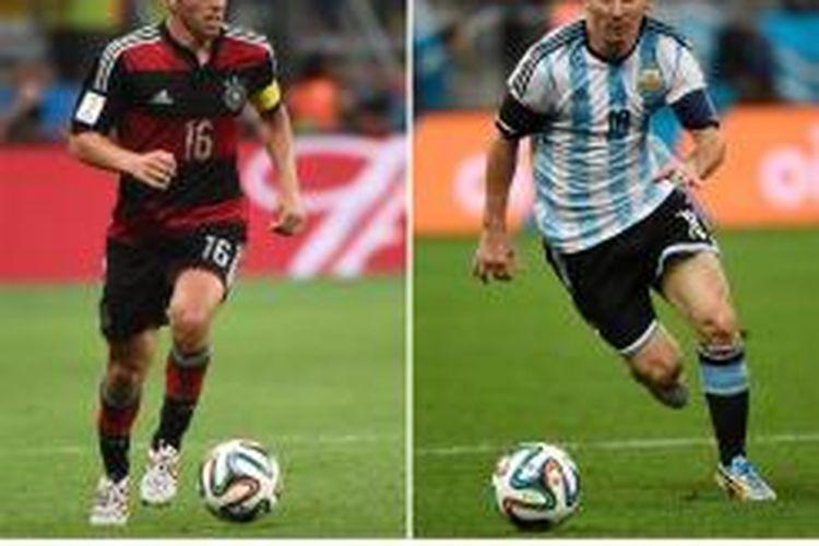 Kombinasi foto yang memperlihatkan aksi bek sekaligus kapten Jerman, Philipp Lahm (kiri) di Belo Horizonte pada 8 Juli 2014, dan penyerang sekaligus kapten Argentina, Lionel Messi, di Sao Paulo pada 9 Juli 2014.