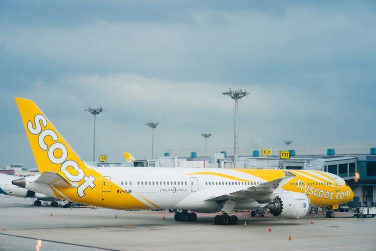 Pesawat Scoot, maskapai penerbangan berbiaya rendah dari Singapore Airlines, (12/5/2019).
