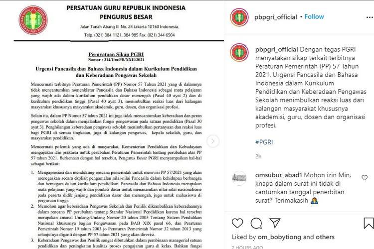 Pernyataan PGRI terkait PP Nomor 57 Tahun 2021.