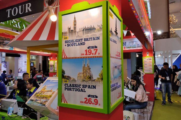 Daftar harga paket wisata di salah satu booth gelaran Astindo Travel Fair 2020, Jumat (21/2/2020).