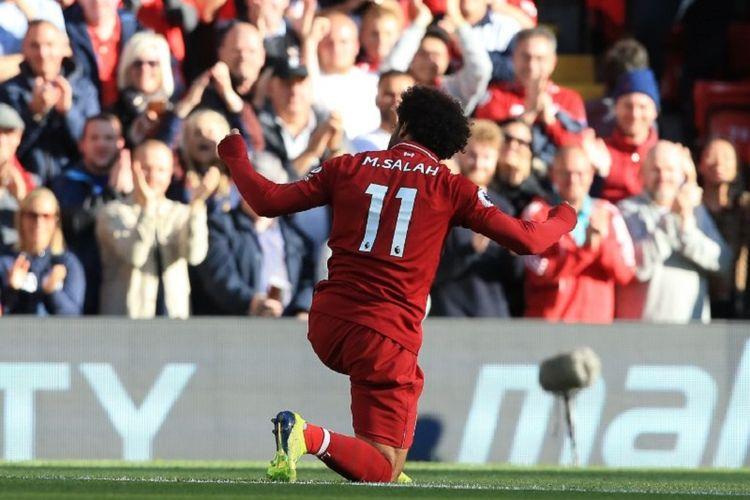 Mohamed Salah merayakan gol Liverpool ke gawang Brighton pada pertandingan Premier League di Stadion Anfield, 25 Agustus 2018.