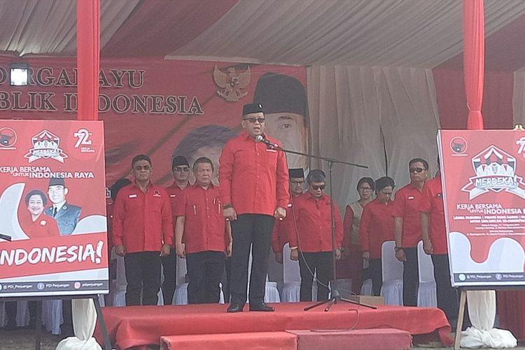 Sekjen PDI-P Hasto Kristiyanto menjadi inspektur upacara peringatan HUT RI di Kantor DPP PDI-P