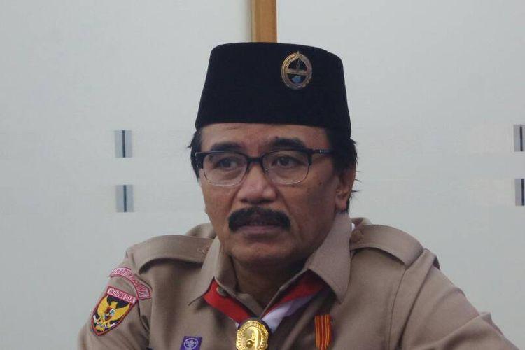 Ketua Kwarnas Gerakan Pramuka Adhyaksa Dault saat berkunjung ke Redaksi Kompas.com, Palmerah Selatan, Jakarta Pusat, Kamis (15/6/2017).