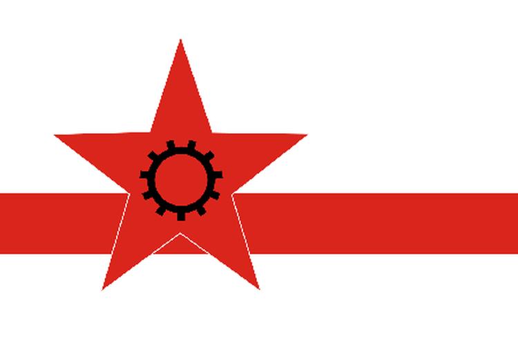 Bandera del Partido de los Trabajadores de Corea del Norte. [Via Young Pioneer Tours]