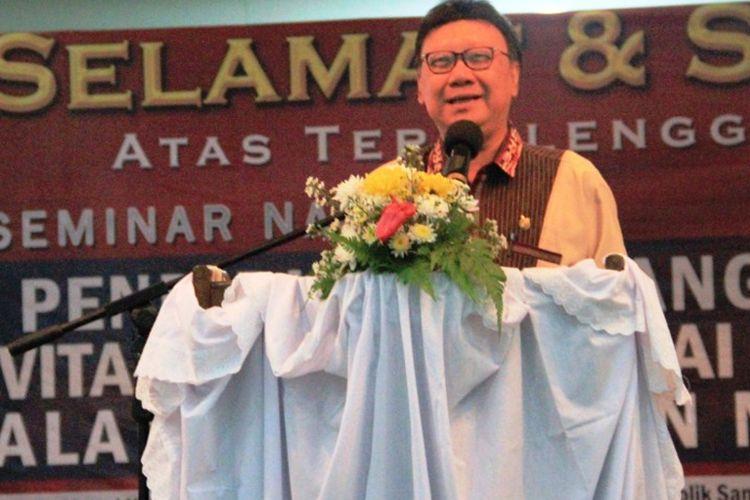 Mendagri Tjahjo Kumolo memaparkan kondisi-kondisi yang sedang dihadapi bangsa Indonesia, Sabtu (16/9/2017)