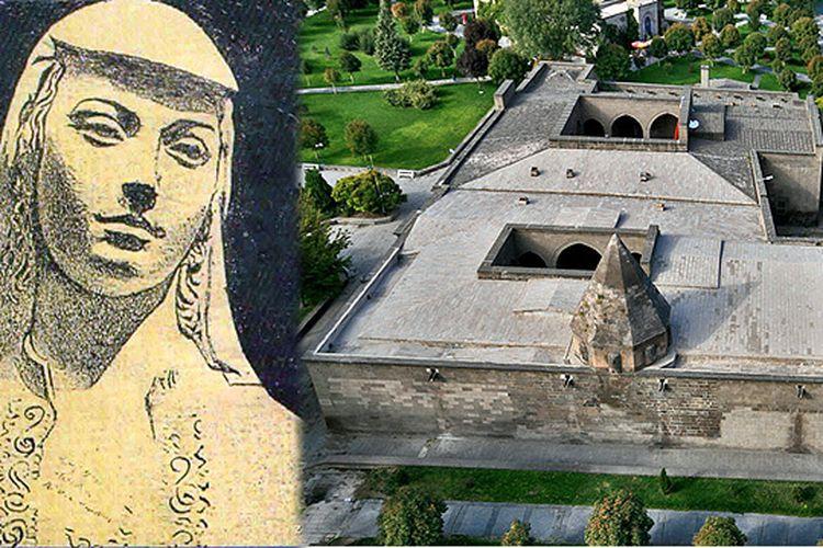 Patung Gevher Nesibe Sultan dan sekolah kedokteran yang didirikan pada abad ke-13. [Kayseriden.biz Via 1001 Inventions]