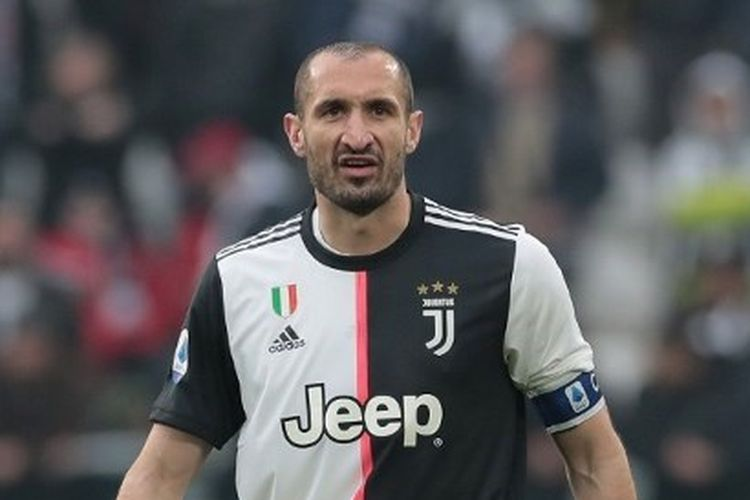 Giorgio Chiellini pada laga Juventus vs Brescia yang digelar di Allianz Stadium, Minggu (16/2/2020).