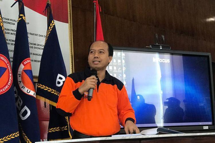 Kepala Pusat Data Informasi dan Humas Badan Nasional Penanggulangan Bencana (BNPB) Sutopo Purwo Nugroho dalam konferensi pers di Graha BNPB, Jakarta Timur, Selasa (7/8/2018).