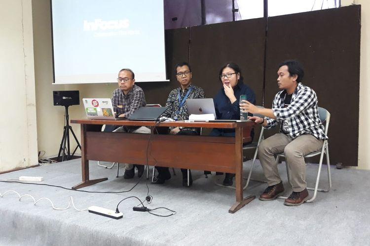 Konferensi pers LBH Jakarta, Greenpeace, Walhi DKI Jakarta, dan Rujak Center Urban Studies di kantor LBH Jakarta, Menteng, Jakarta, Senin (6/1/2020) terkait banjir yang melanda Ibu Kota dan sekitarnya pada awal tahun ini.