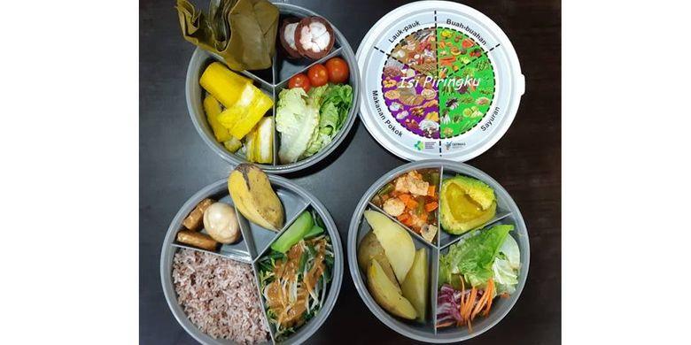 Ilustrasi makanan sehat berdasarkan proporsi Isi Piringku.