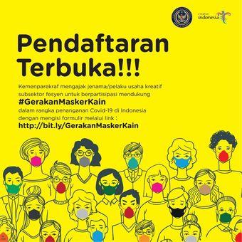 Poster Gerakan Masker Kain, ajak desainer lokal produksi 100.000 masker kain.