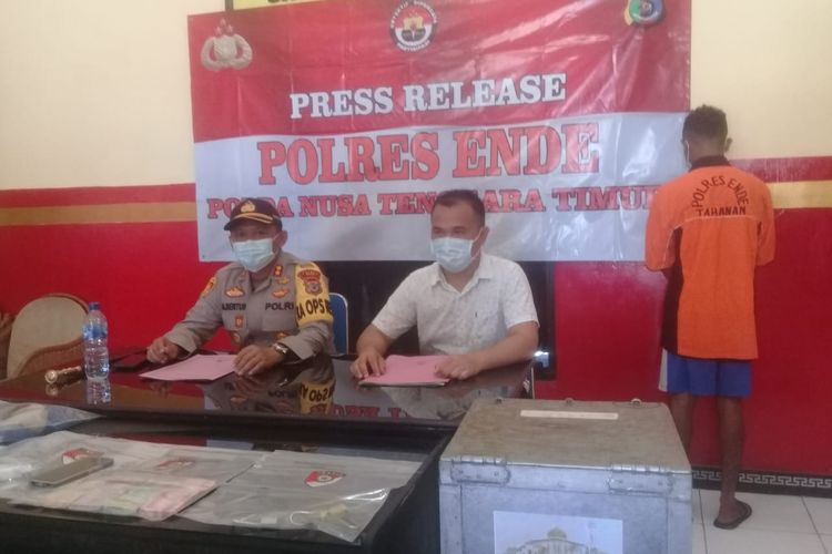 Foto : Saat Kepolisian Resort Ende, kabupaten Ende, NTT, menggelar konferensi pers, Senin (16/11/2020).