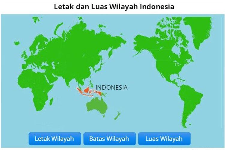 Ilustrasi letak dan luas wilayah Indonesia.
