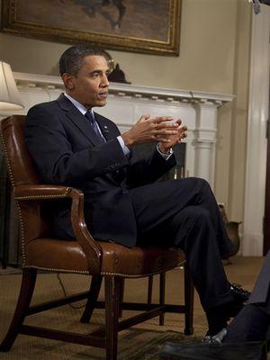 Presiden Barack Obama duduk dengan David Gregory di Gedung Putih untuk penampilan MTP pertama Obama sejak menjabat menjadi Presiden