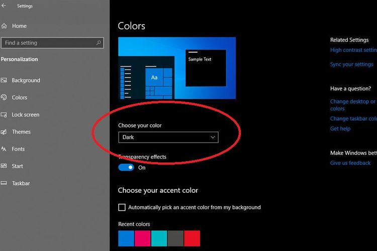Cara menggnati dark mode di windows 10
