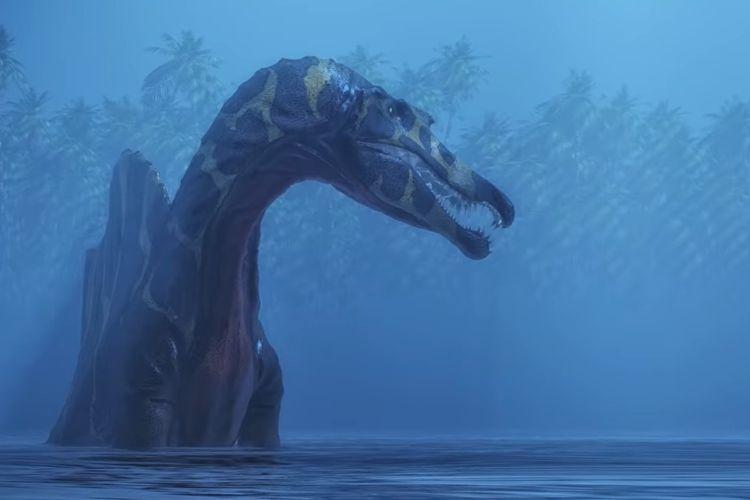 Ilustrasi Spinosaurus aegyptiacus, spesies dinosaurus berenang.