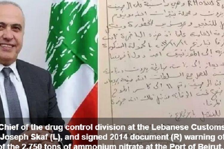 Kolonel Joseph Skaf ditemukan tewas secara misterius pada 2017 setelah meminta agar amonium nitrat di pelabuhan Beirut dipindahkan.