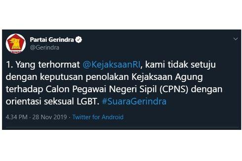 Ramai Partai Gerindra Tolak Aturan CPNS Kejagung soal LGBT