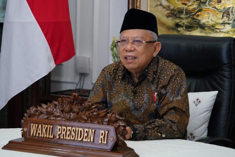 Wakil Presiden Maruf Amin saat membuka simposium nasional studi dan relasi lintas agama berparadigma Pancasila yang diselenggarakan Badan Pembinaan Ideologi Pancasila (BPIP) secara daring, Kamis (10/9/2020).