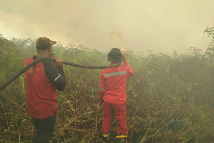 Tim Manggala Agni Sumatera V Daops Dumai memadamkan titik api karhutla di Kelurahan Sukarjo Mesim, Kecamatan Rupat, Kabupaten Bengkalis, Riau, Senin (22/2/2021).