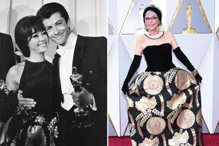 Rita Moreno dan George Chakiris dengan piala Oscarnya untuk West Side Story pada tahun 1962 (kiri) dan saat Academy Awards ke-90, tahun 2018.