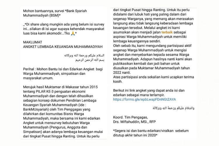 Status Facebook berisi link tidak resmi survei pendirian Bank Syariah Muhammadiyah.