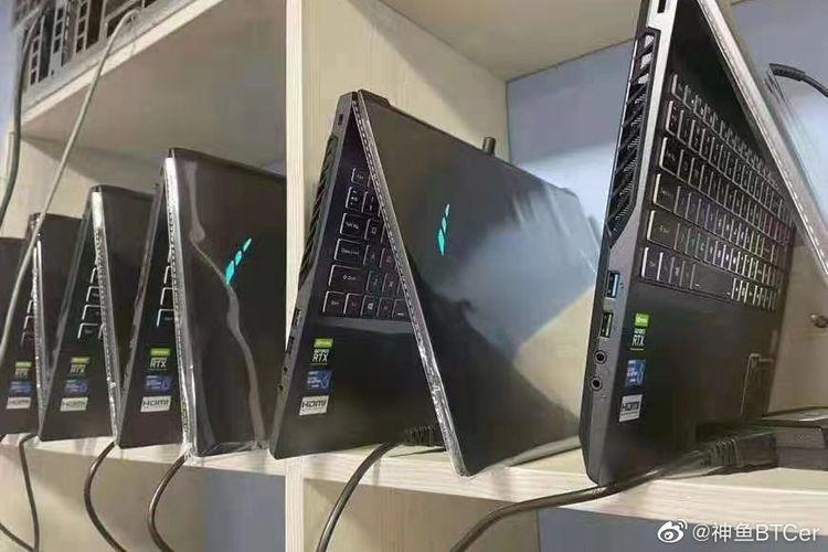 Penambang uang kripto Ethereum menggunakan notebook gaming yang dilengkapi GPU besutan Nvidia yakni GeForce RTX seri 3000 terbaru.