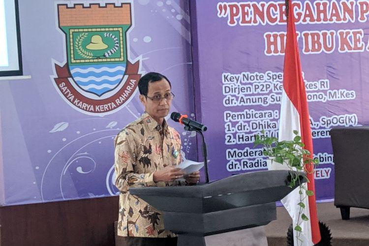 Dirjen Pencegahan dan Pengendalian Penyakit (P2P) Kementerian Kesehatan, Anung Sugihantono dalam acara seminar HIV AIDS di RSUD Kabupaten Tangerang, Rabu (18/12/2019)