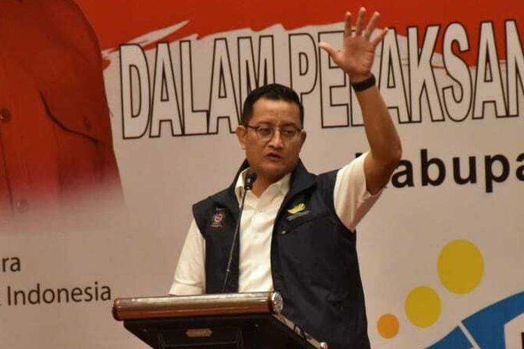 Menteri Sosial Juliari P Batubara saat memberikan pengarahan koordinasi teknis SDM PKH se-Kabupaten Malang pada Jumat (4/12/2020).