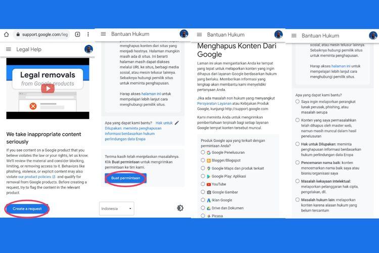 Cara menghapus jejak digital di Google Support.
