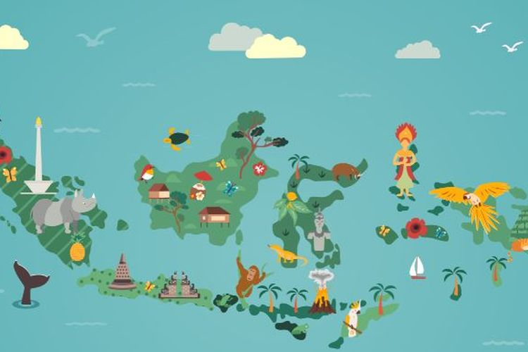 Ilustrasi peta budaya Indonesia