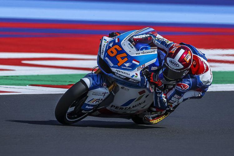 Pebalap Pertamina Mandalika SAG Team, Bo Bendsneyder, saat berlaga pada Moto2 San Marino