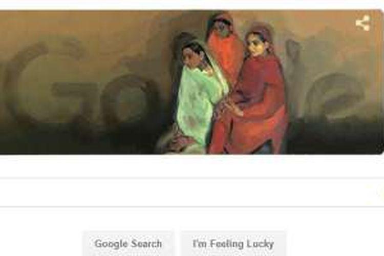 Google Doodle hari ini, Sabtu (30/1/2016), dibuat untuk memperingati hari lahir Amrita Sher-Gil ke-103