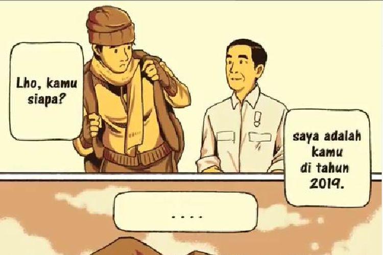 Cuplikan video percakapan Jokowi muda dan Jokowi.