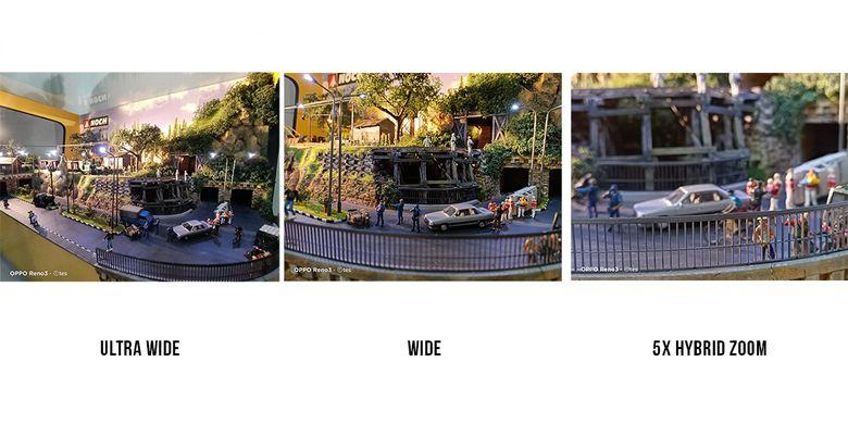 Perbedaan bidang pandang kamera ultra wide, wide, dan 5x hybrid zoom di Oppo Reno3