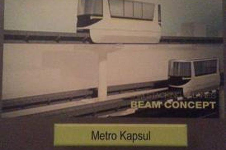 Gambar rancangan dari transportasi Metro Kapsul yang rencananya akan dibangun di Jakarta
