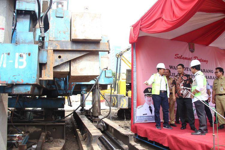 Pemerintah Kota Semarang memulai pembangunan gedung parkir Jalan Pandanaran, Senin (5/11/2018).