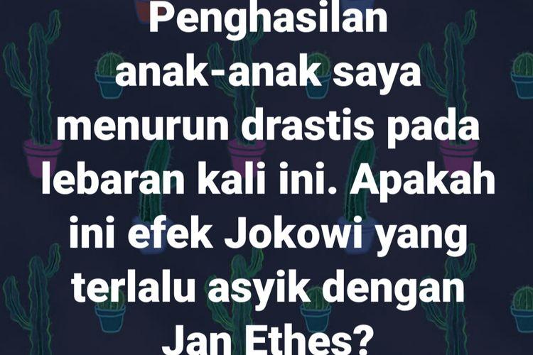 Postingan SHP yang diduga sebagai ujaran kebencian kepada Presiden Jokowi.