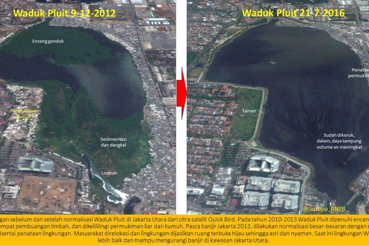Foto citra satelit Waduk Pluit yang diunggah Kepala Pusat Data Informasi dan Humas BNPB Sutopo Purwo Nugroho ke akun twitternya.