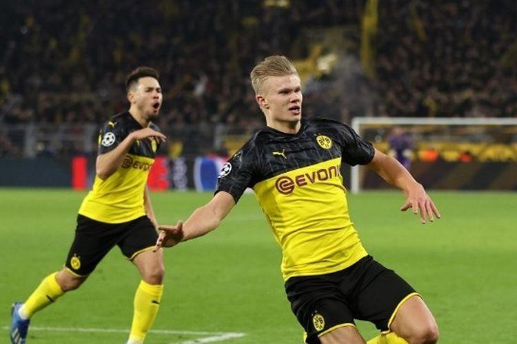 Erling Haaland berselebrasi seusai mencetak gol pada laga Dortmund vs PSG di babak 16 besar Liga Champions, 19 Februari 2020.