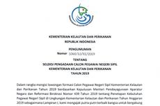 KKP Buka 399 Formasi CPNS 2019, Ini Rinciannya