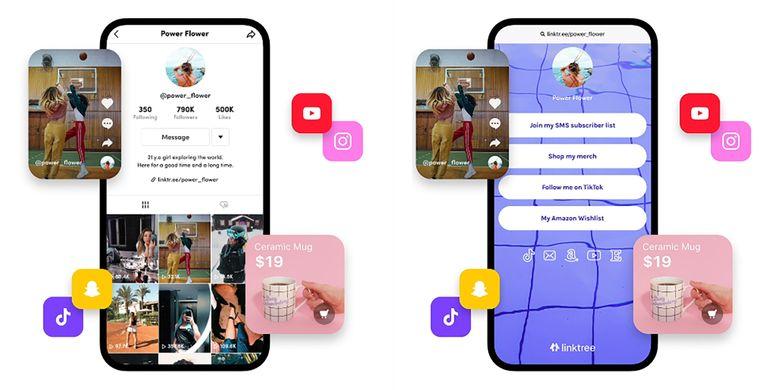 Ilustrasi link tunggal di bio akun Instagram yang mengalihkan pengunjung ke laman Linktree berisi tautan ke berbagai platform digital pemilik akun